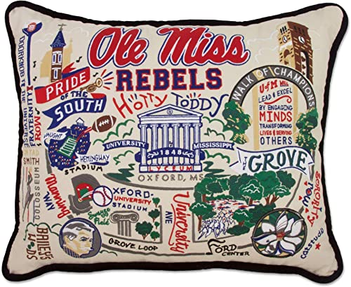 Catstudio University of Mississippi Ole Miss Collegiate Embroidered Decorative Throw Pillow