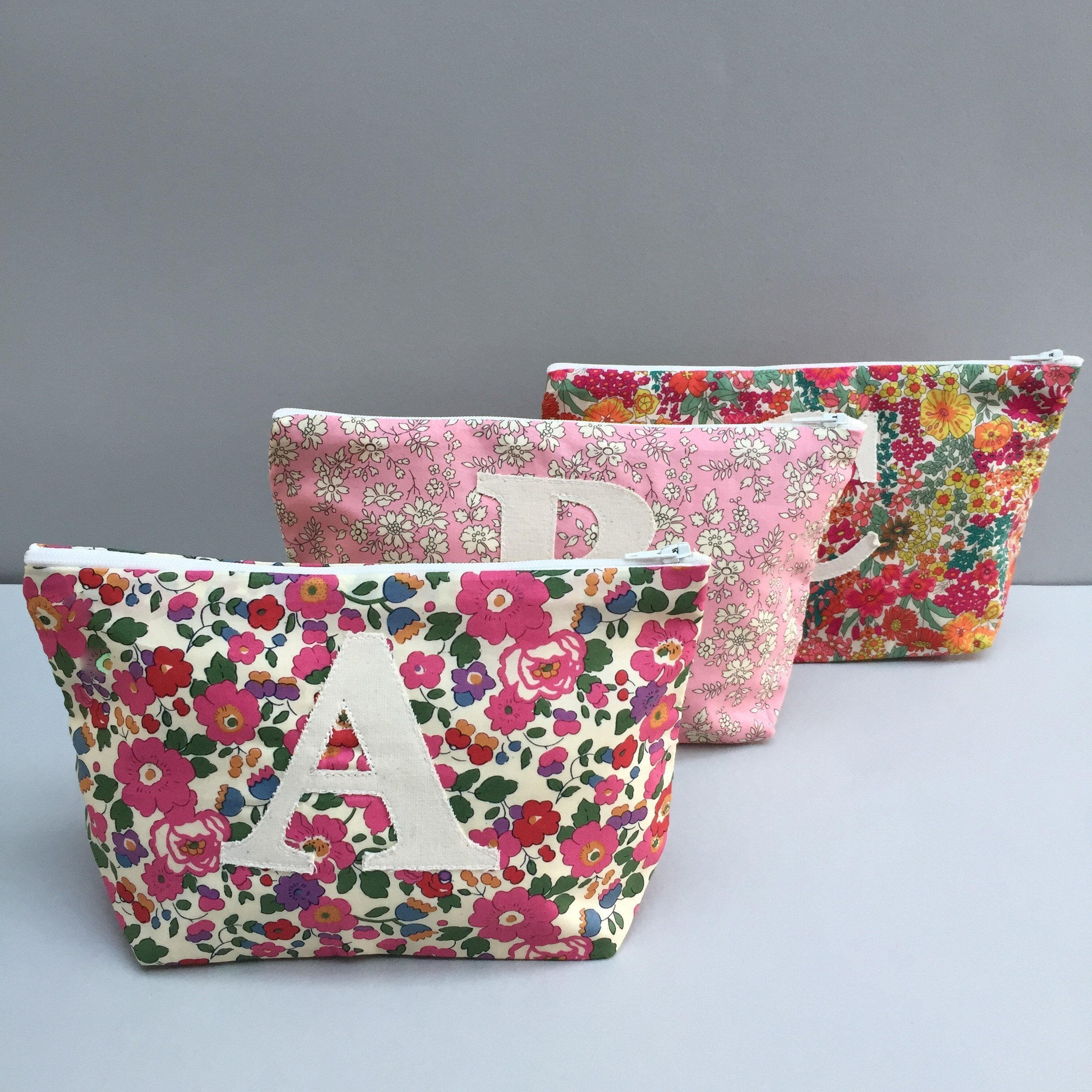 Liberty Print Personalized Make Up Bag Cosmetic Bag Monogram Zip Pouch by Gemima London
