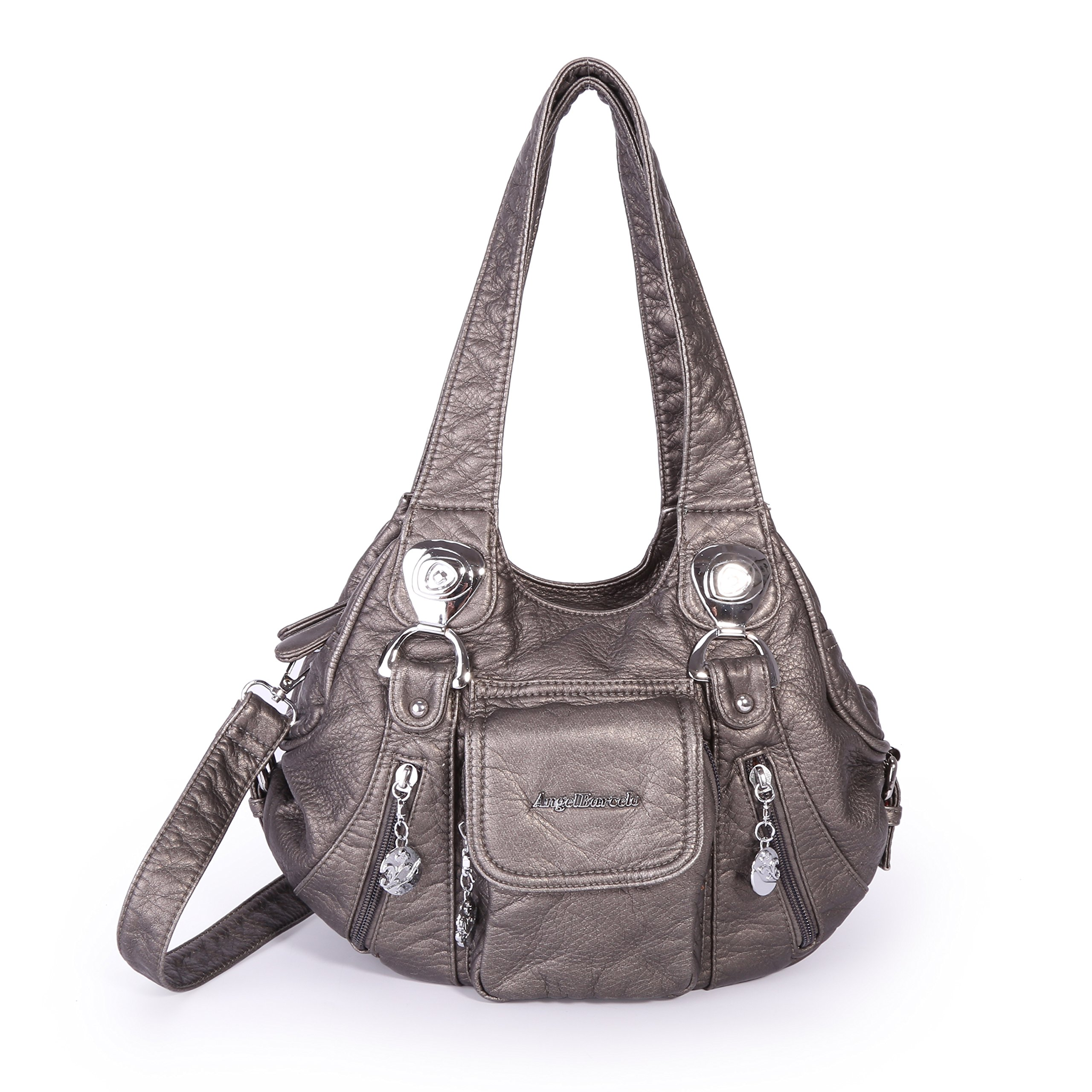 Angel Barcelo HandBags Soft Lether Mini Size (Pewter)
