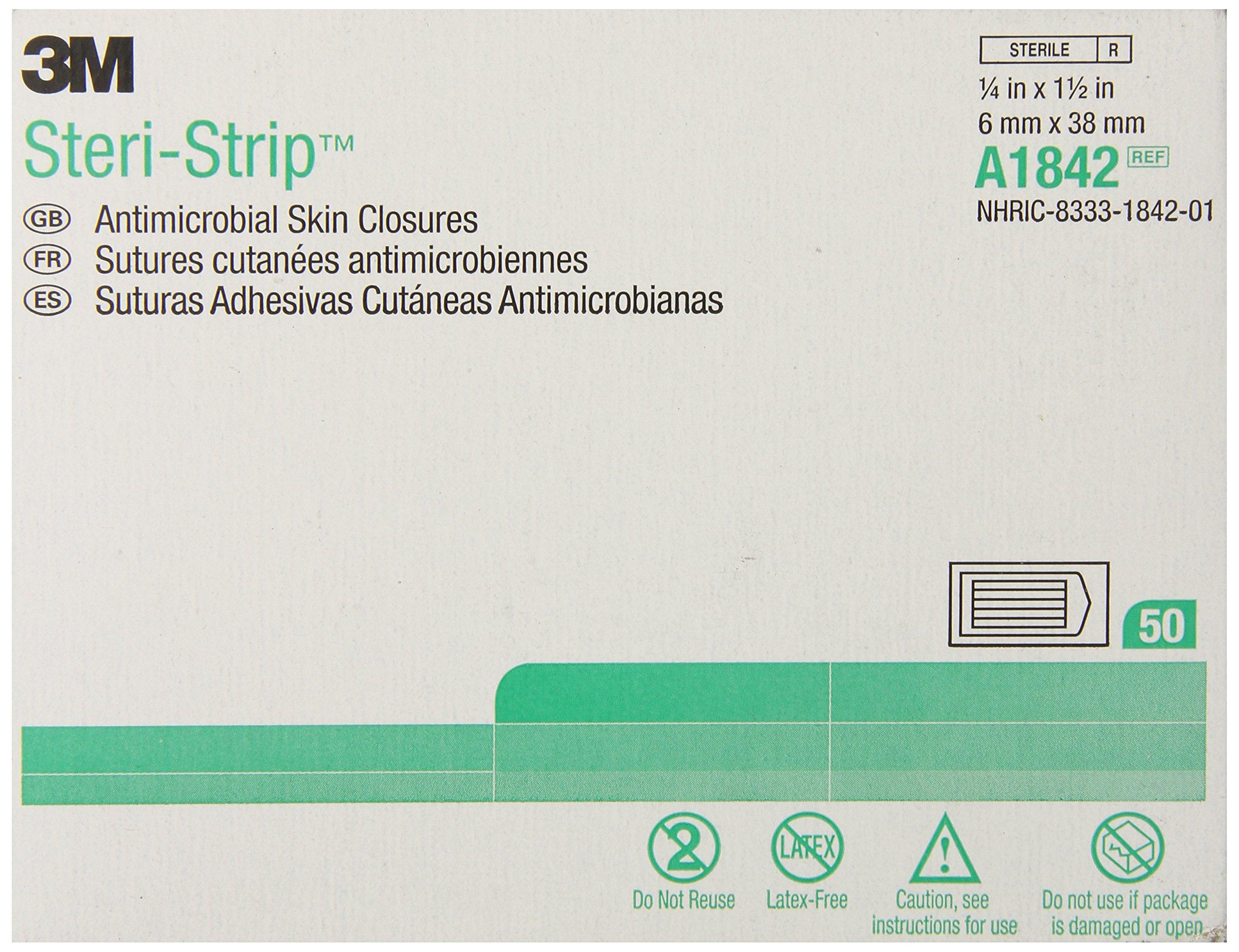 3M Steri-Strip Antimicrobial Skin Closures A1842, 50 Bags