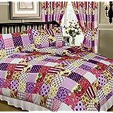 Patchwork Berry, Double Bed Duvet / Quilt Cover Set, Floral Damask Polka Dots Spots Flowers Thatch Weave Tartan Check, Purple Aubergine Plum Pink Cream White Beige