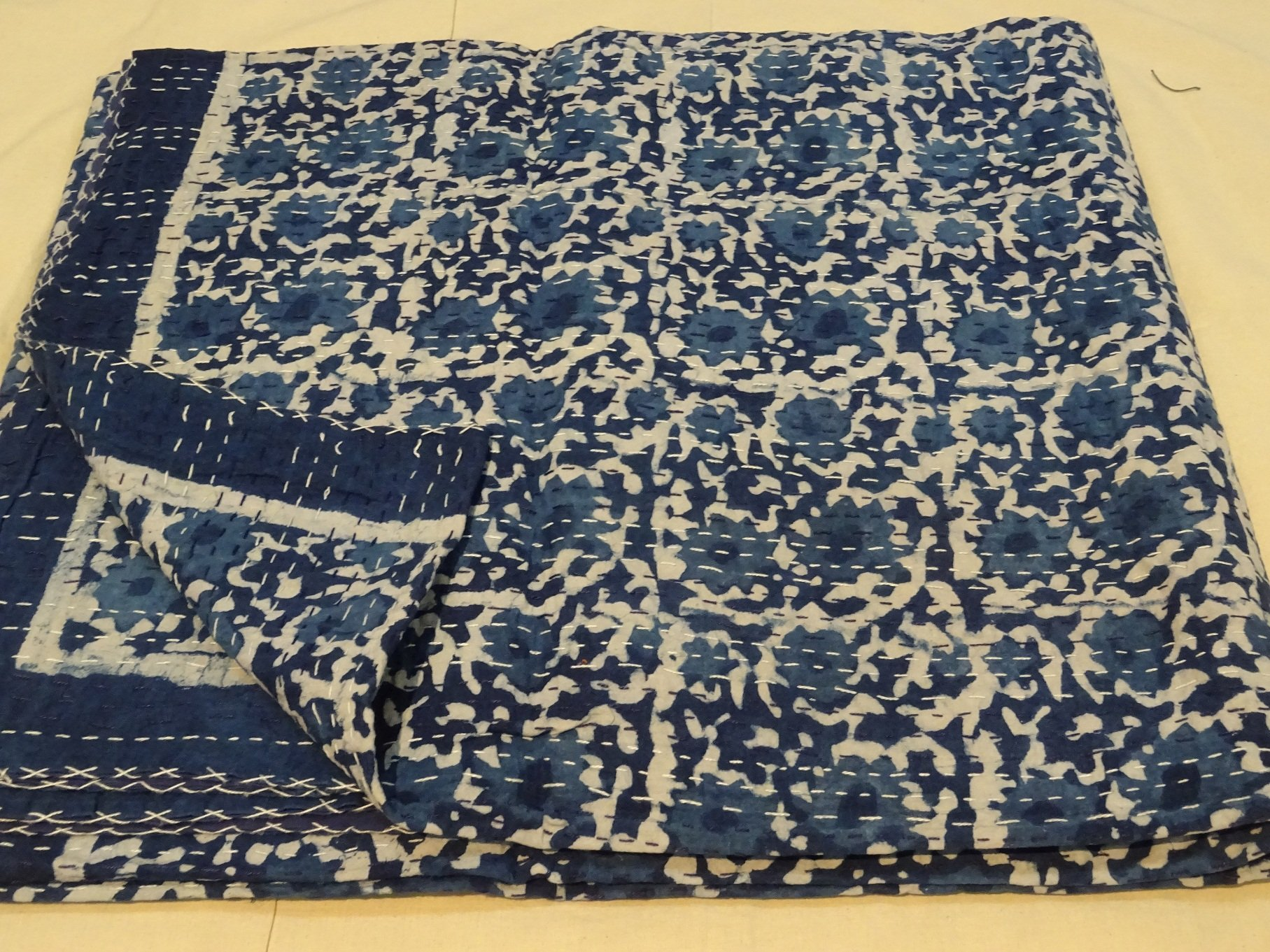 Indigo Pure Cotton Bedspread Queen Size Quilt Block Print Kantha Stitch Kantha Quilt Indian Bed Cover Reversible Throw Orange Quilt