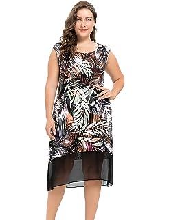 Chicwe Vestidos Tallas Grandes Mujeres Vestido Elástico con Estampados de Hojas