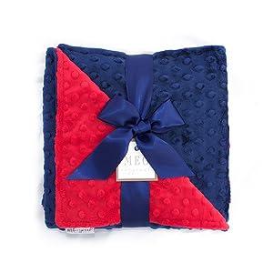 MEG Original Navy Blue & Red Minky Dot Baby Blanket