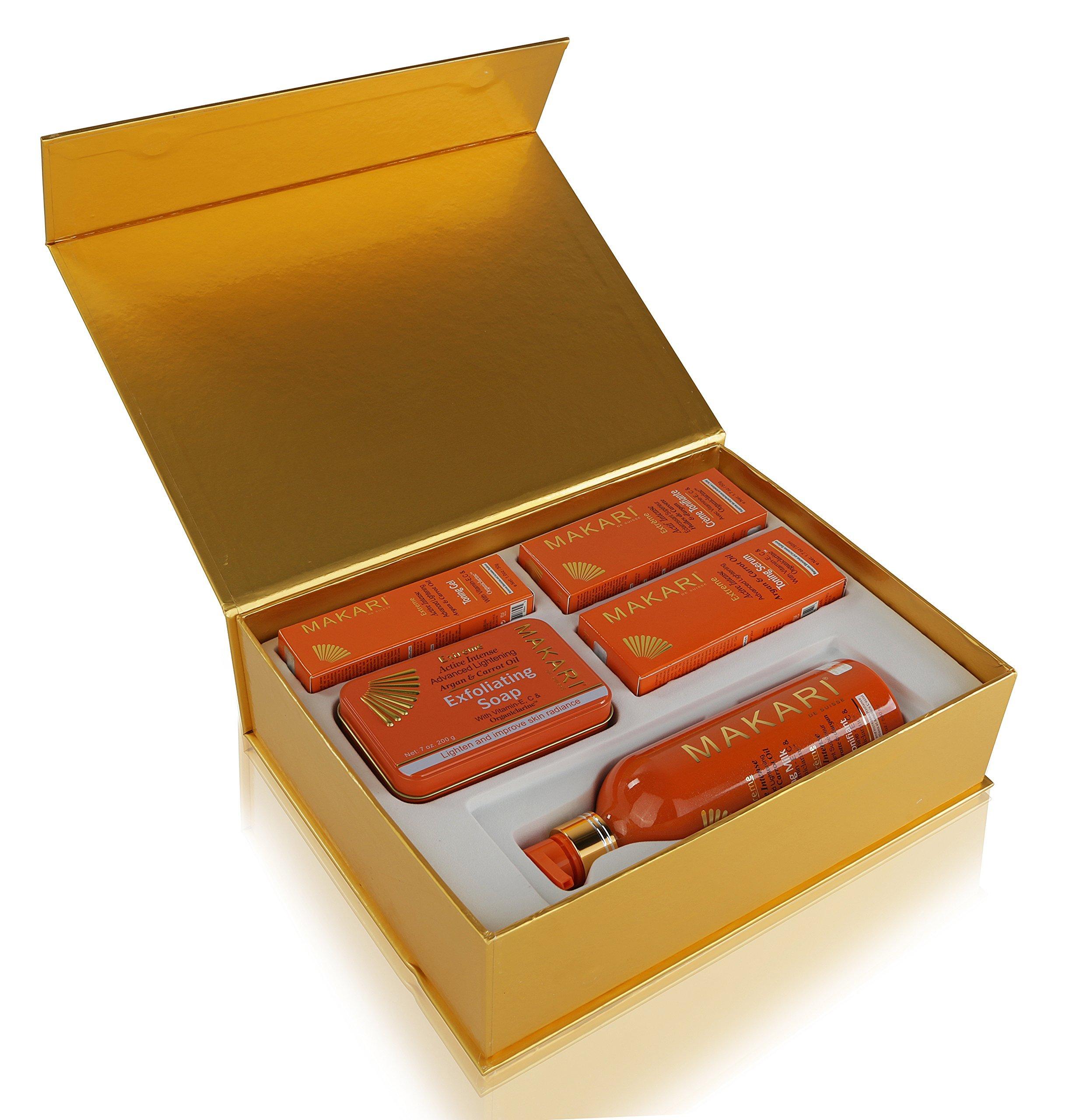 Makari Extreme Carrot & Argan Oil Skin Toning Gift Set – Complete Lightening, Brightening & Tightening Regimen with 16.8oz Body Milk, 1.7oz Cream, 1.7oz Serum, 1.0oz Gel & 7oz. Exfoliating Soap