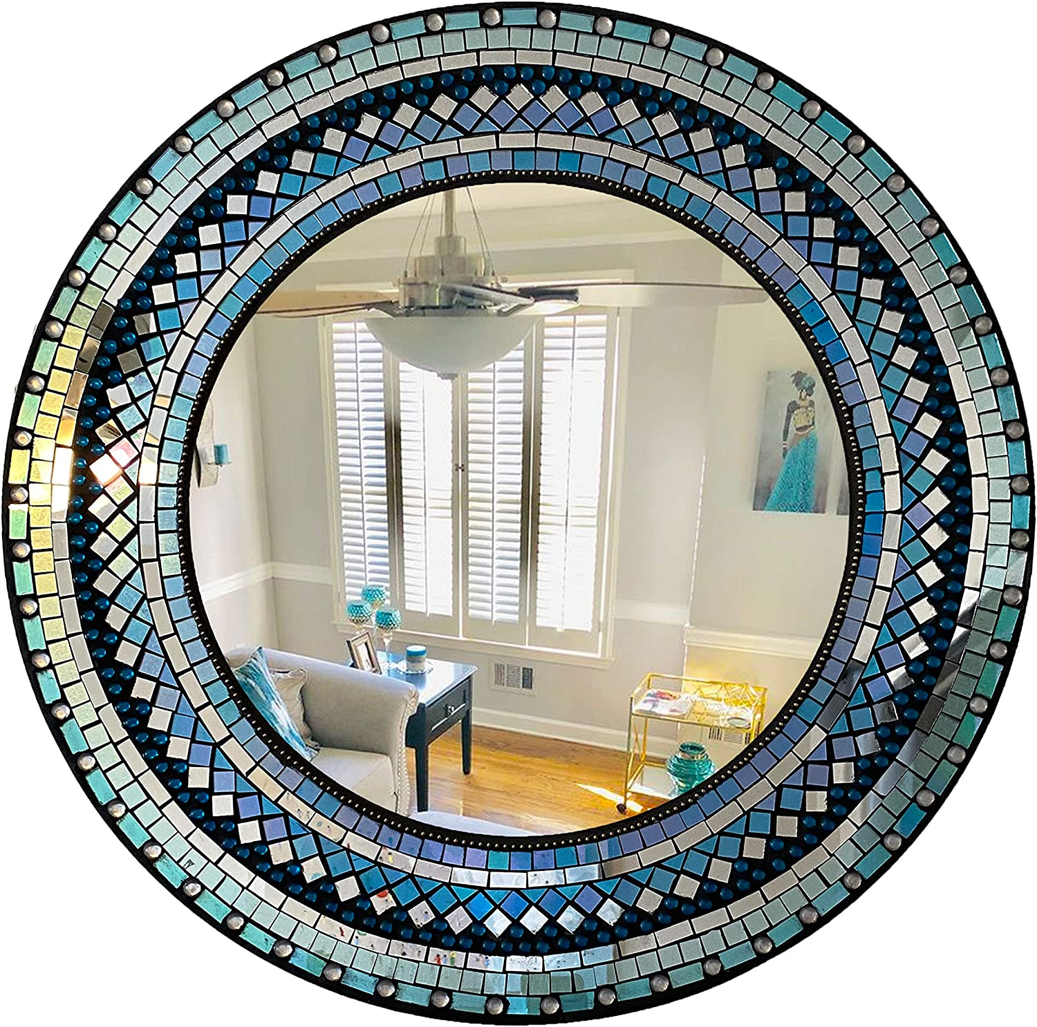Home Gift Warehouse Handcrafted Mosaic Decorative Wall Mirror, 24