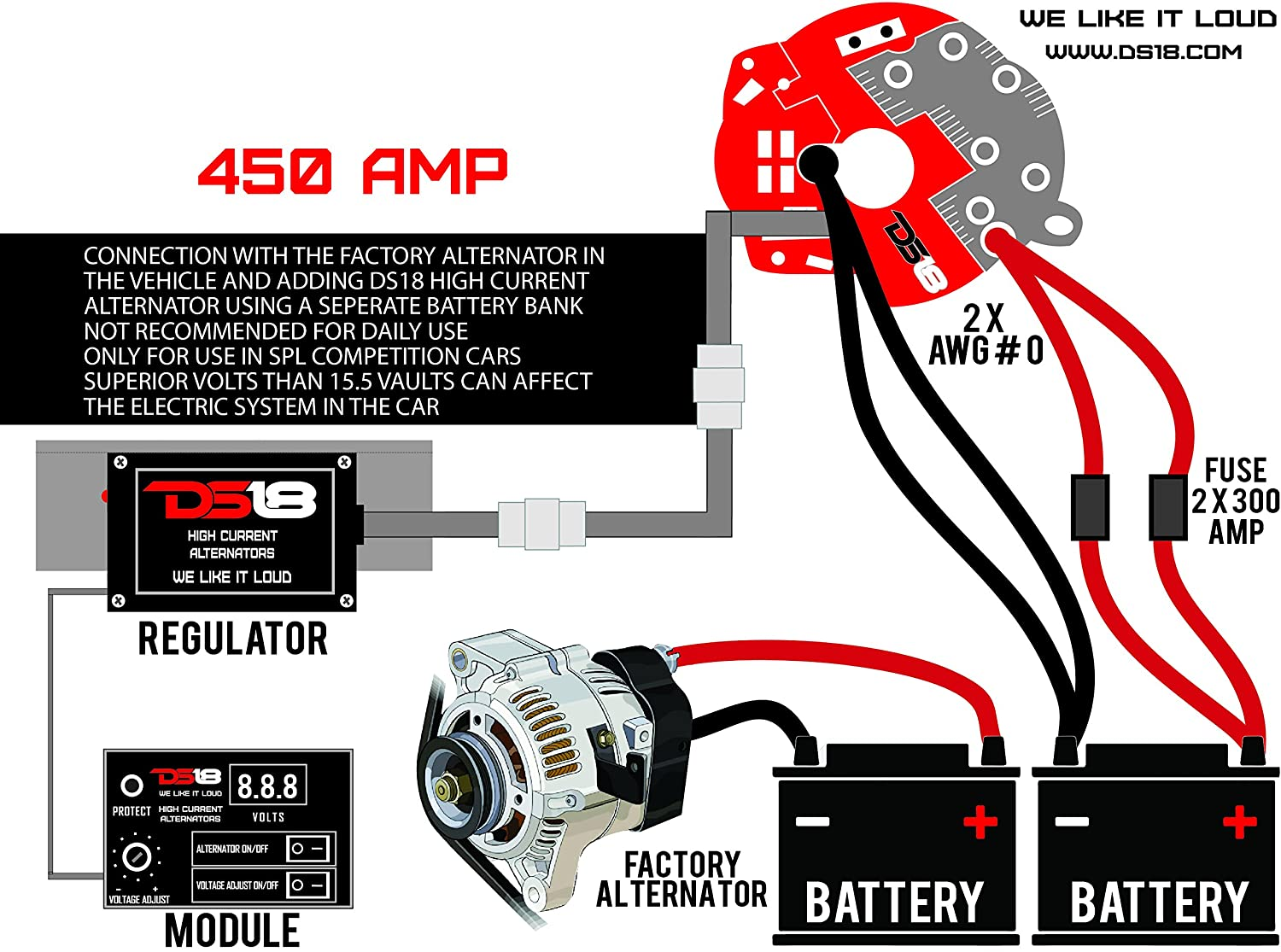 Ds18 F Alt350a 350 Amp Ford Style High Current Output Alternator Wiring Diagram Spl Competition Car Audio Automotive
