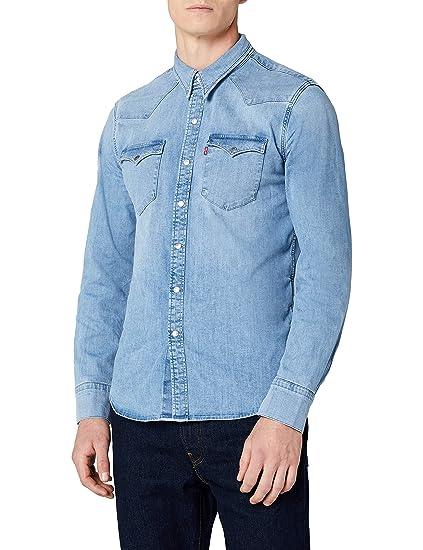 Levis Barstow Western, Camisa Vaquera para Hombre, Azul (Brooklyn Stretch Light 0253)