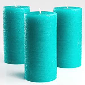 Turquoise/Teal Unscented Pillar Candles 3 x 6 Inch Set of 3 Fragrance-Free for Weddings, Decoration, Restaurant, Spa, Smokeless Cotton Wick by