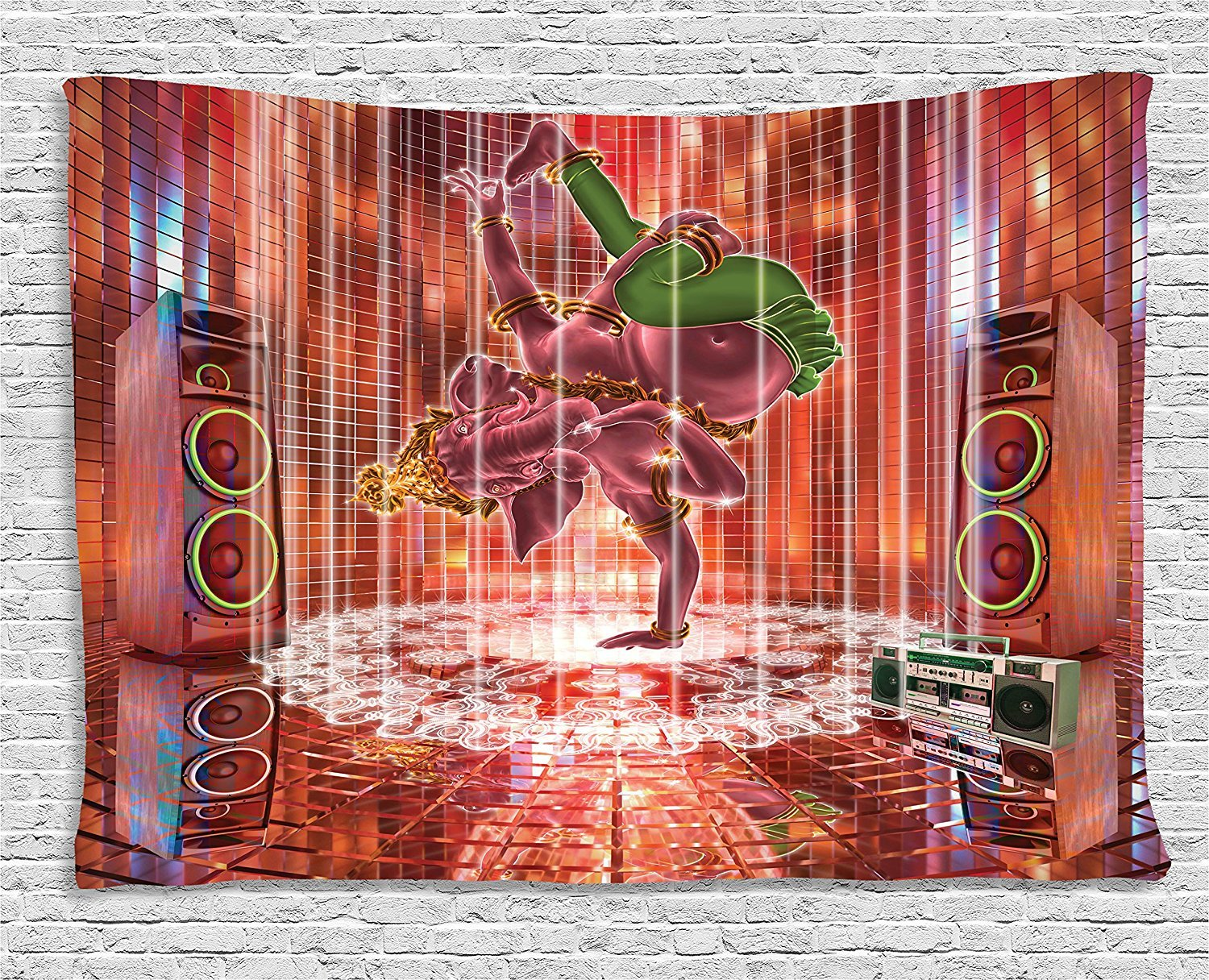 asddcdfdd Animal Decor Tapestry, Ethnic Elephant Dancing Rocking the Dance Floor with its Meditating Moves Print, Wall Hanging for Bedroom Living Room Dorm, 80 W X 60 L Inches, Multi