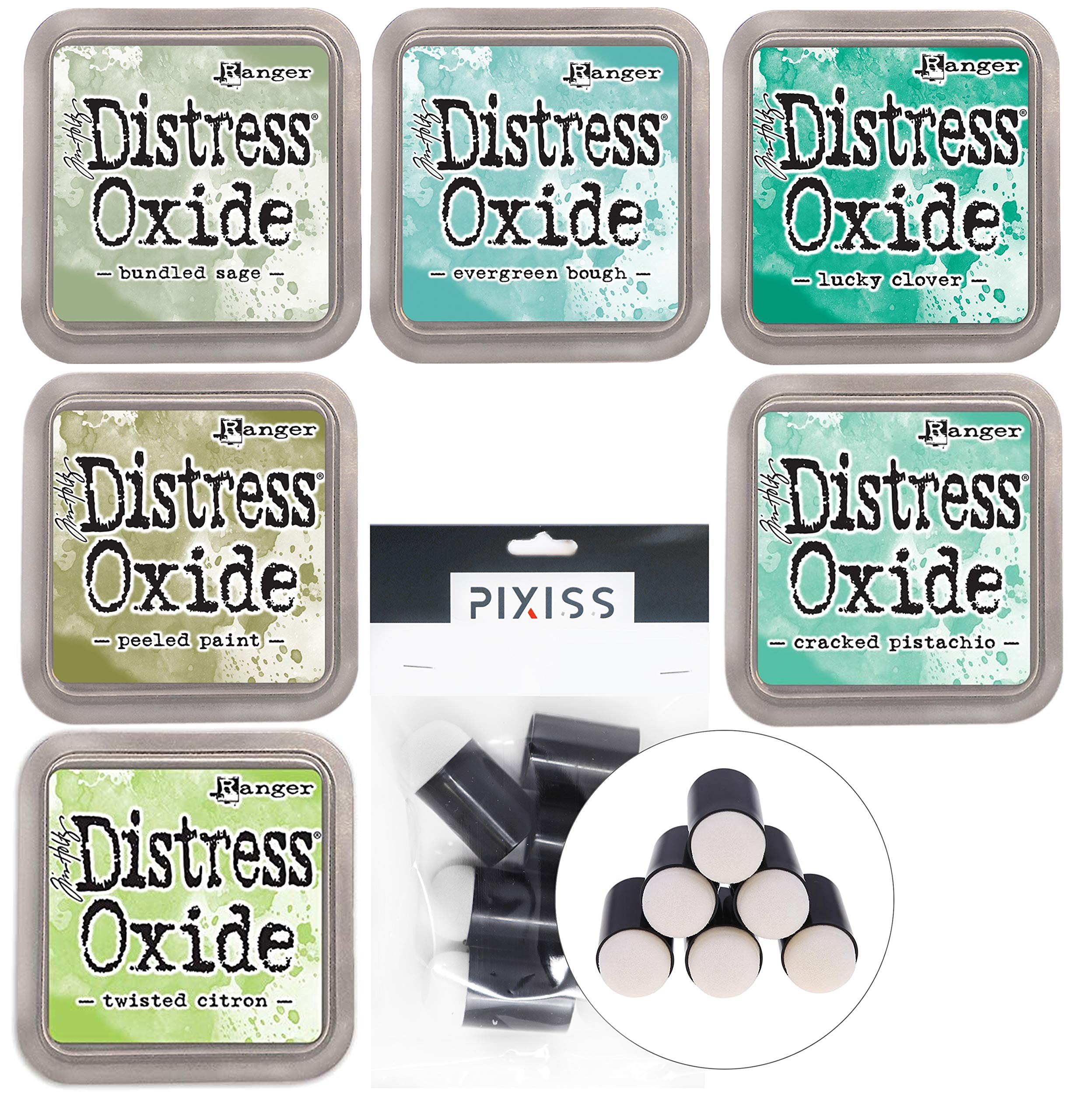 Ranger Distress Oxides Ink Pad 6 Color Bundle Evergreen Bough, Bundled Sage, Lucky Clover, Peeled Paint, Cracked Pistachio, Twisted Citron with 6 Piece Pixiss Daubers