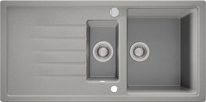 100 x 50 cm Sossai Nevio /Évier en granit Gris 1,5 bac pour largeur de placard /à partir de 60 cm avec siphon tubulaire rotatif excentrique suppl/émentaire int/égr/é