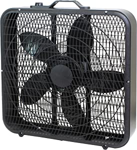 """Comfort Zone CZ200ABK 20"""" 3-Speed Box Fan for Full-Force Air Circulation with Air Conditioner, Black"""
