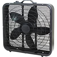 Comfort Zone CZ200ABK 20″ 3-Speed Box Fan for Full-Force Air Circulation with Air Conditioner, Black