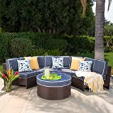 Riviera Ponza Outdoor Patio Furniture Wicker 4 Piece Semicircular Sectional Sofa Seating Set w/ Waterproof Cushions (Standard Ottoman, Navy Blue)