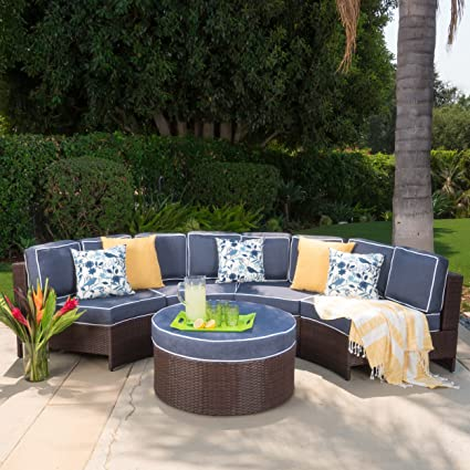 Merveilleux Riviera Ponza Outdoor Patio Furniture Wicker 4 Piece Semicircular Sectional  Sofa Seating Set W/Waterproof