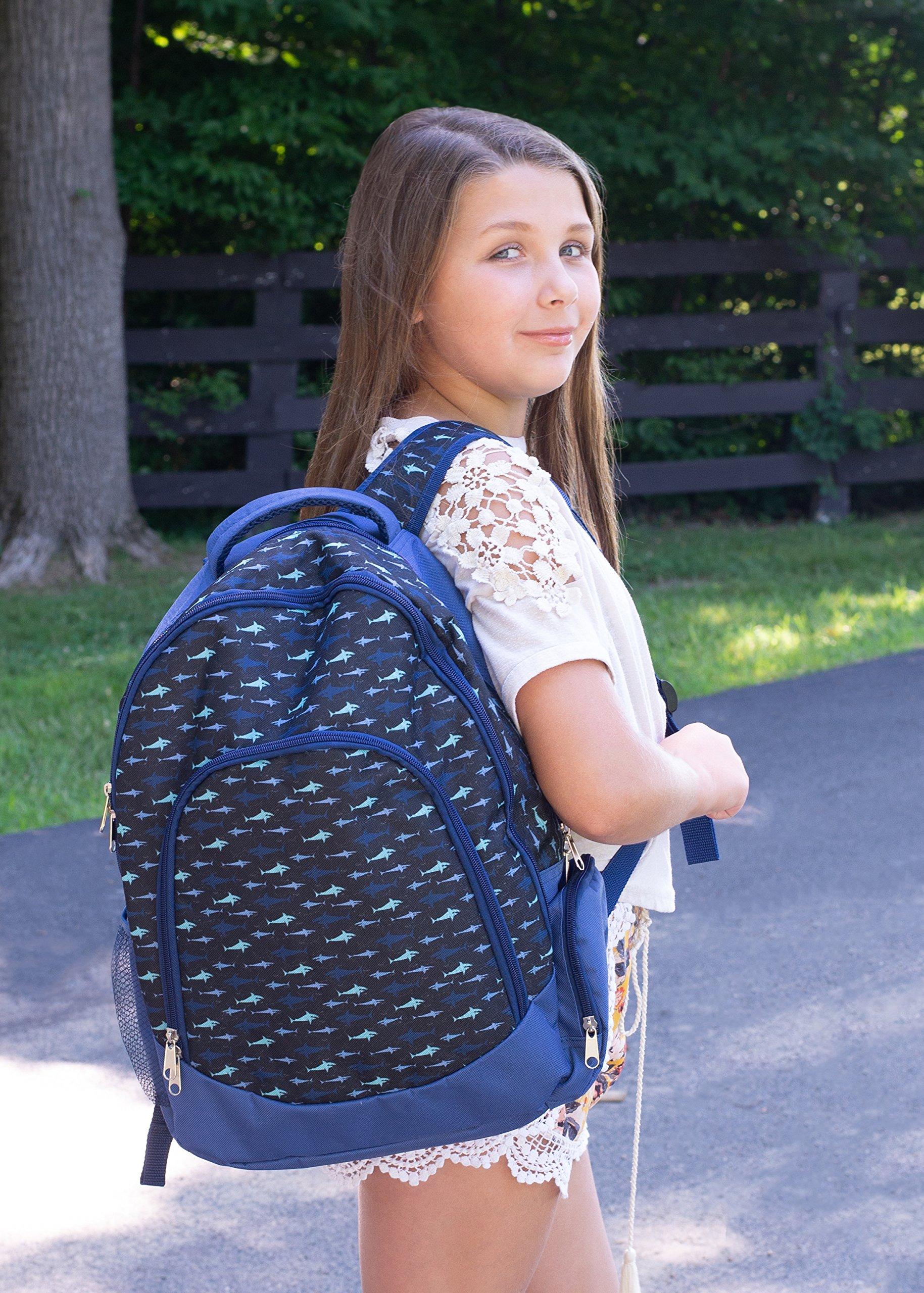 Reinforced and Water Resistant Padded Laptop School Backpack (Shark Ocean Blue)