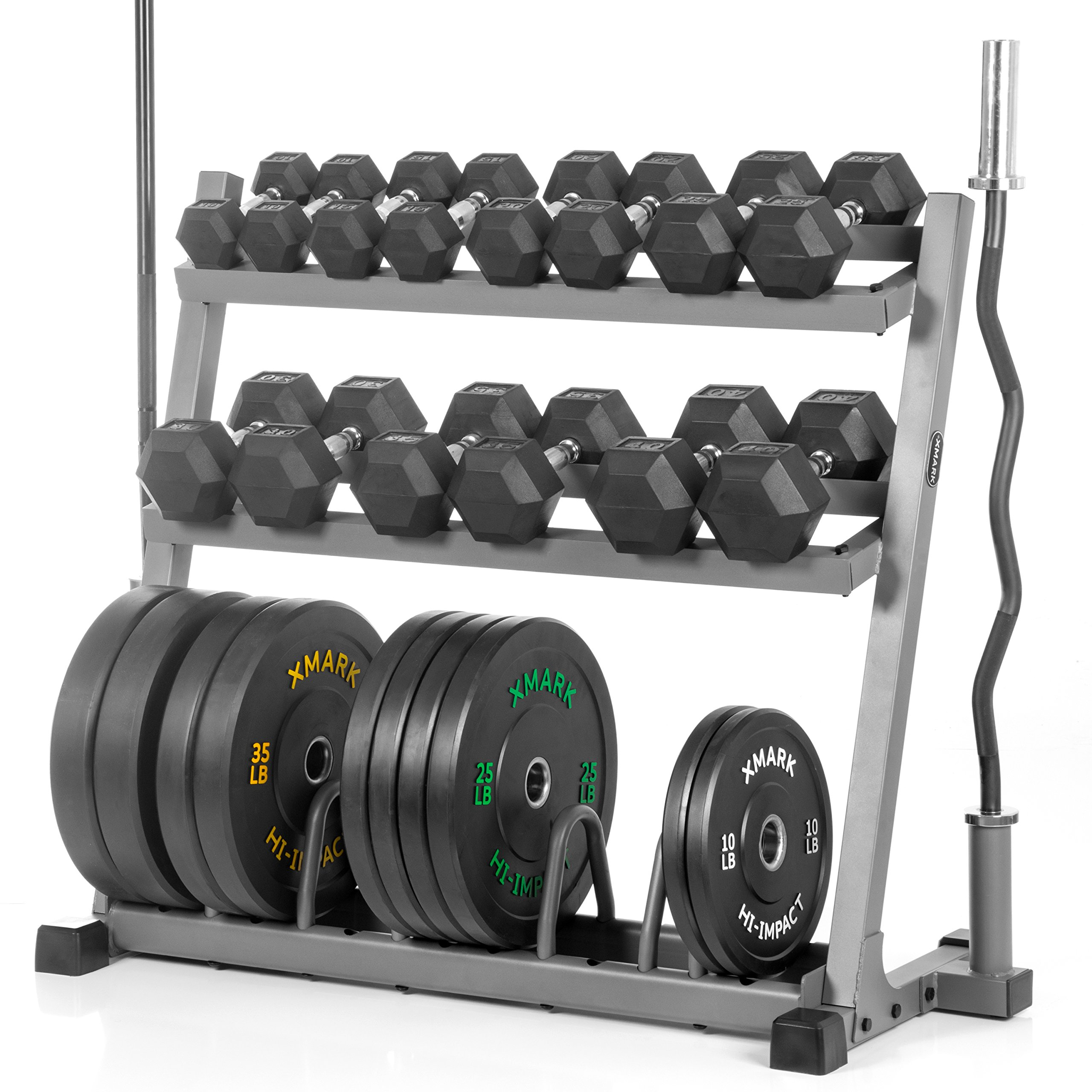 XMark POWERHOUSE Package Fully Loaded Dumbbell and Plate Weight Rack with Bar Storage, Voodoo 7' Olympic Bar, Olympic EZ Curl Bar, 350 lb. Set of Hex Dumbbells and 280 lbs. of Olympic Bumpers