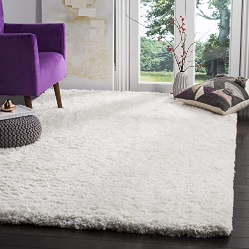 Safavieh Florence Shag Collection Handmade White Area Rug 5 x 8