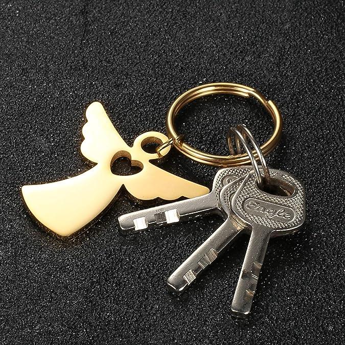 Milacolato Guardian Angel Keyring con Coraz/ón Mochila Colgante Lucky Charm Regalo para la Licencia de Conducir del Coche Pareja Llavero Plata//Negro//Oro