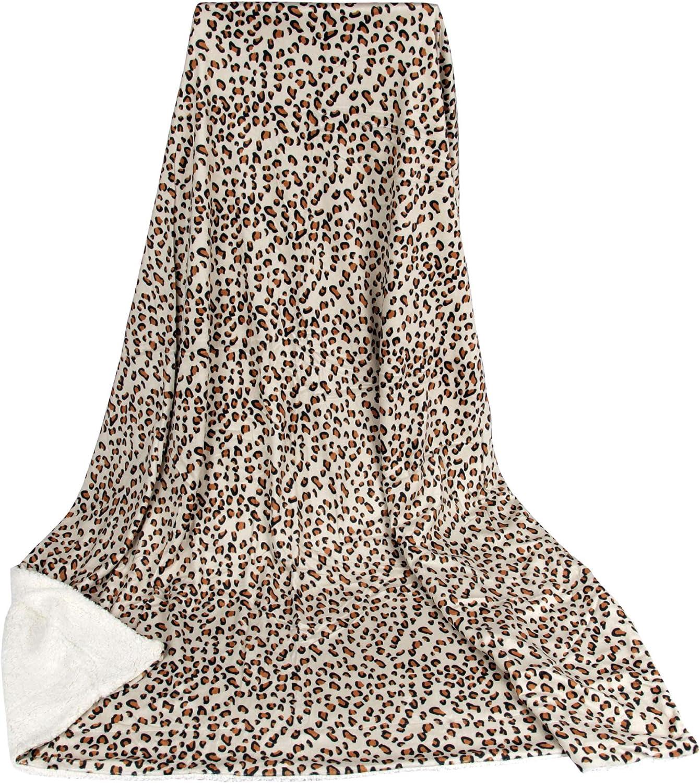 Bestlivings Kaito Plaid en Laine dagneau 130 x 170 cm 150 cm x 200 cm Beige Leopard Microfibre