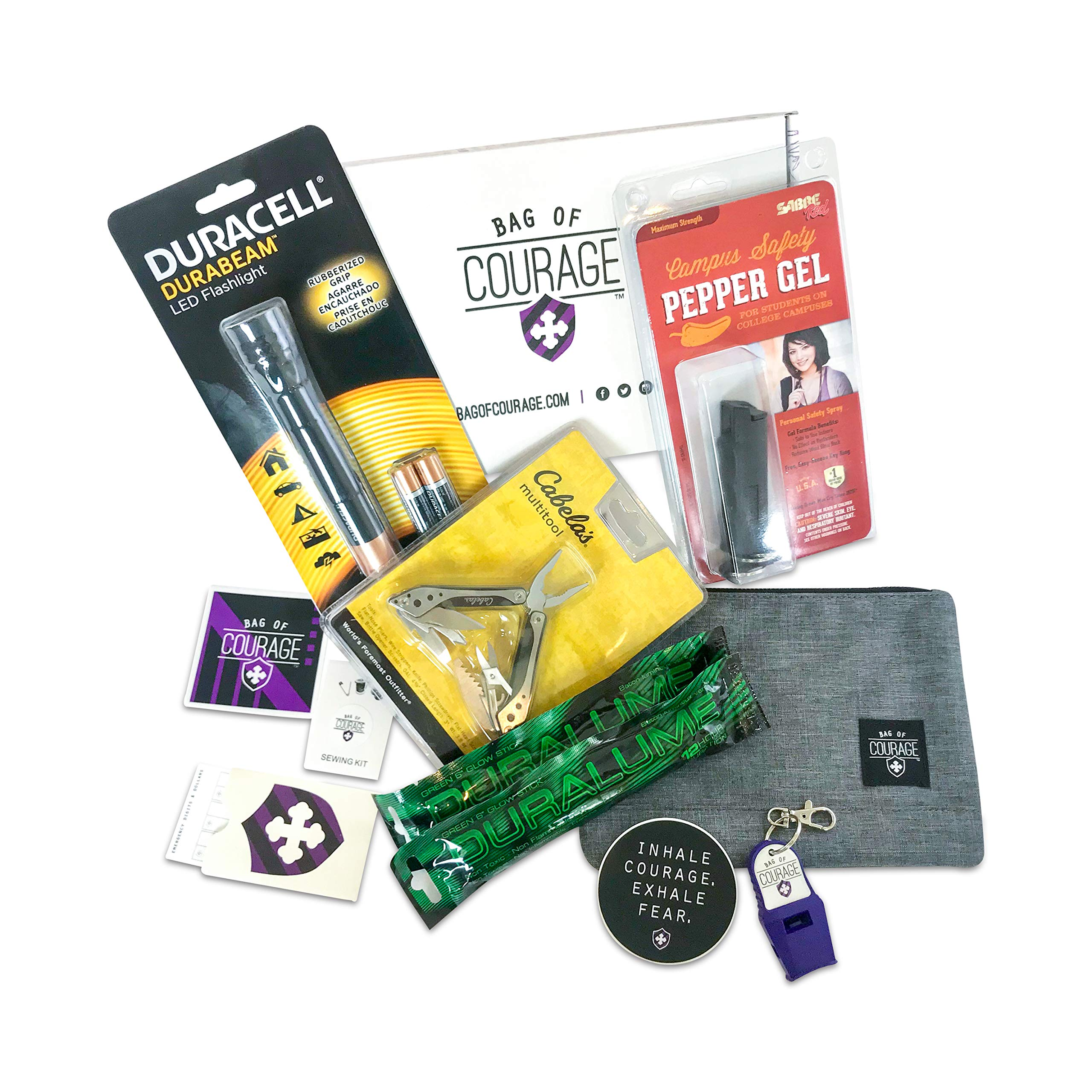 College Safety KIT - Dorm Room Essentials- Sabre Red Campus Safety Gel Spray - LED Flashlight - Cabela's Multitool + Emergency Whistle, Sewing Kit, 2 Emergency Glow Sticks; Lot of 11 as Shown by Bag of Courage / Prepared and Courageous