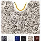 VDOMUS Contour Bath Rug, Soft Shaggy U-shaped Toilet Floor Mat Bathroom Carpet, 19.5 X 19.5 inches - Beige