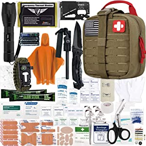 EVERLIT Survival Upgraded Survival First Aid Kit Emergency Gear Trauma Kit with 1000D Nylon Laser Cut Tactical EMT Pouch for Outdoor, Camping, Hunting, Hiking, Earthquake, Home, Office