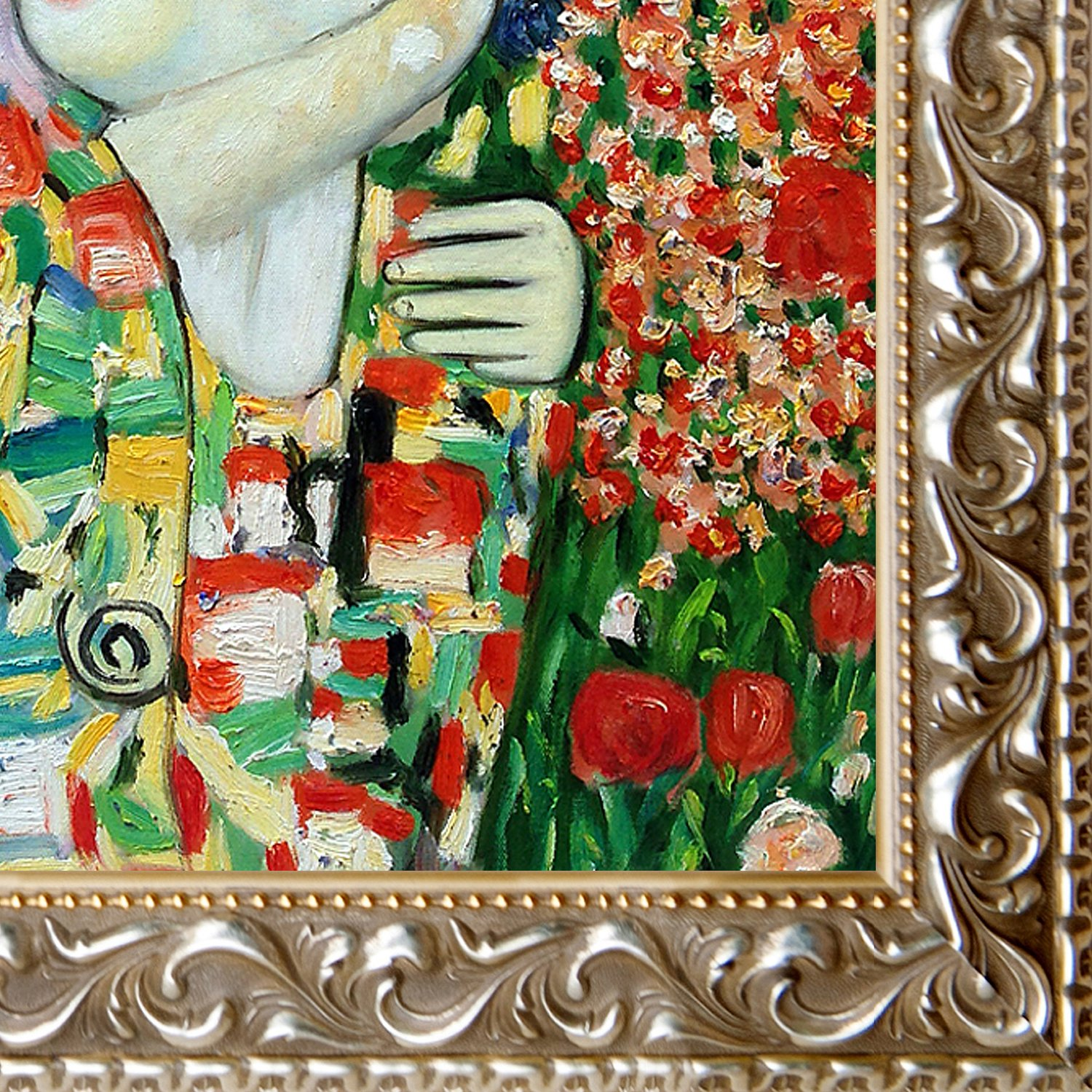overstockArt The Dancer Artwork by Klimt in Rococo Silver-Antiqued Silver Frame with Gold Bead Inset