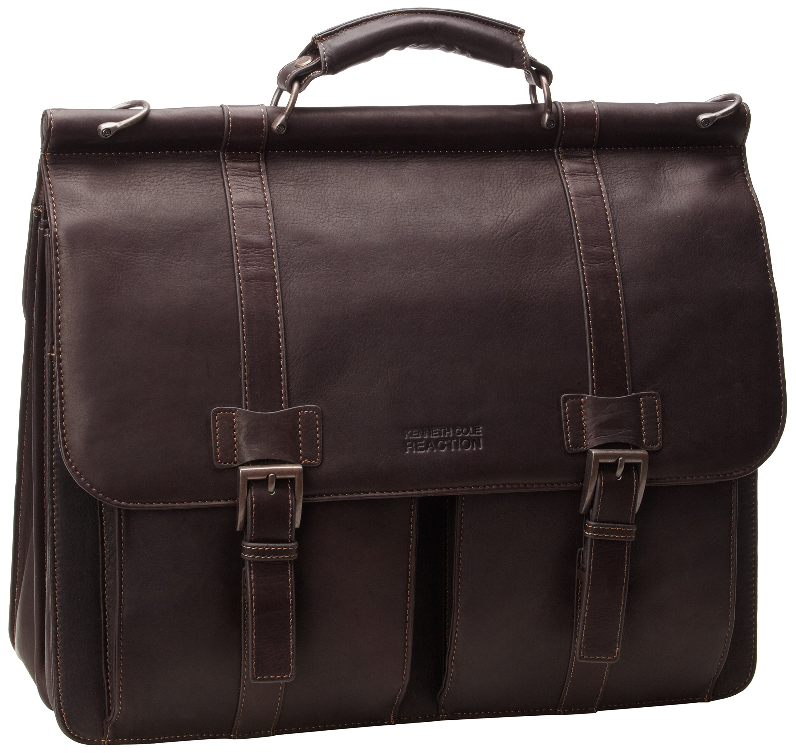 Kenneth Cole Reaction ''Mind Your Own Business'' Colombian Leather Double Compartment Dowel Rod Portfolio/Computer Case/ Fits Most 15.4'' Laptops, Brown, One Size