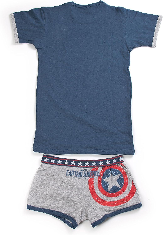 12 Anni, Jeans Boxer Capitan America Marvel Cotone Elasticizzato Art Coordinato Intimo Ragazzo t-Shirt MV13013