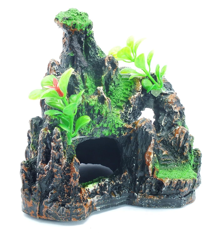 Decoración para acuario: Conjunto rocoso con plantas y musgo: Amazon.es: Hogar
