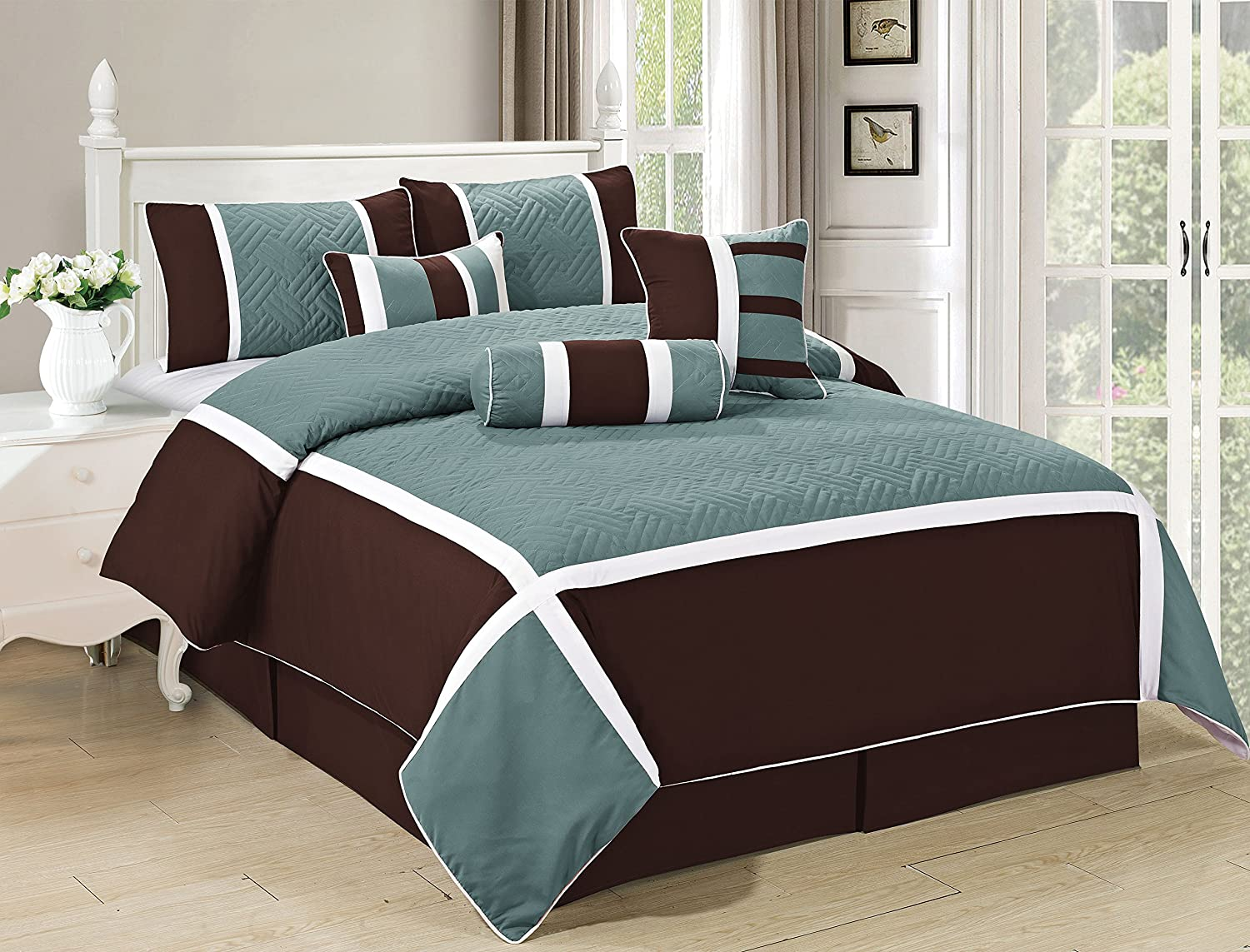 All American Collection New 7 Piece Embroidered Over-sized Comforter Set King, Turquoise/Brown