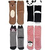 Super Soft Warm Cute Furry Animal Non-Slip Fuzzy Cozy Fluffly Crew Winter Home Socks, Value Pack