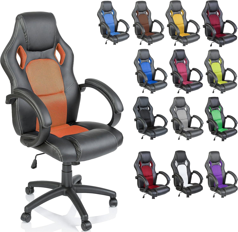 TRESKO� Sedia da Ufficio Poltrona Ufficio Versione Racing 14 diferente Colores, braccioli Imbottiti, inclinazione, Sollevare SGS Testato (Arancione)