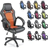 Chaise Fauteuil siège de bureau racing sport ergonomique inclinable accoudoirs rembourrés, de 14 couleurs différentes, Lift SGS contrôlé (noir/orange)