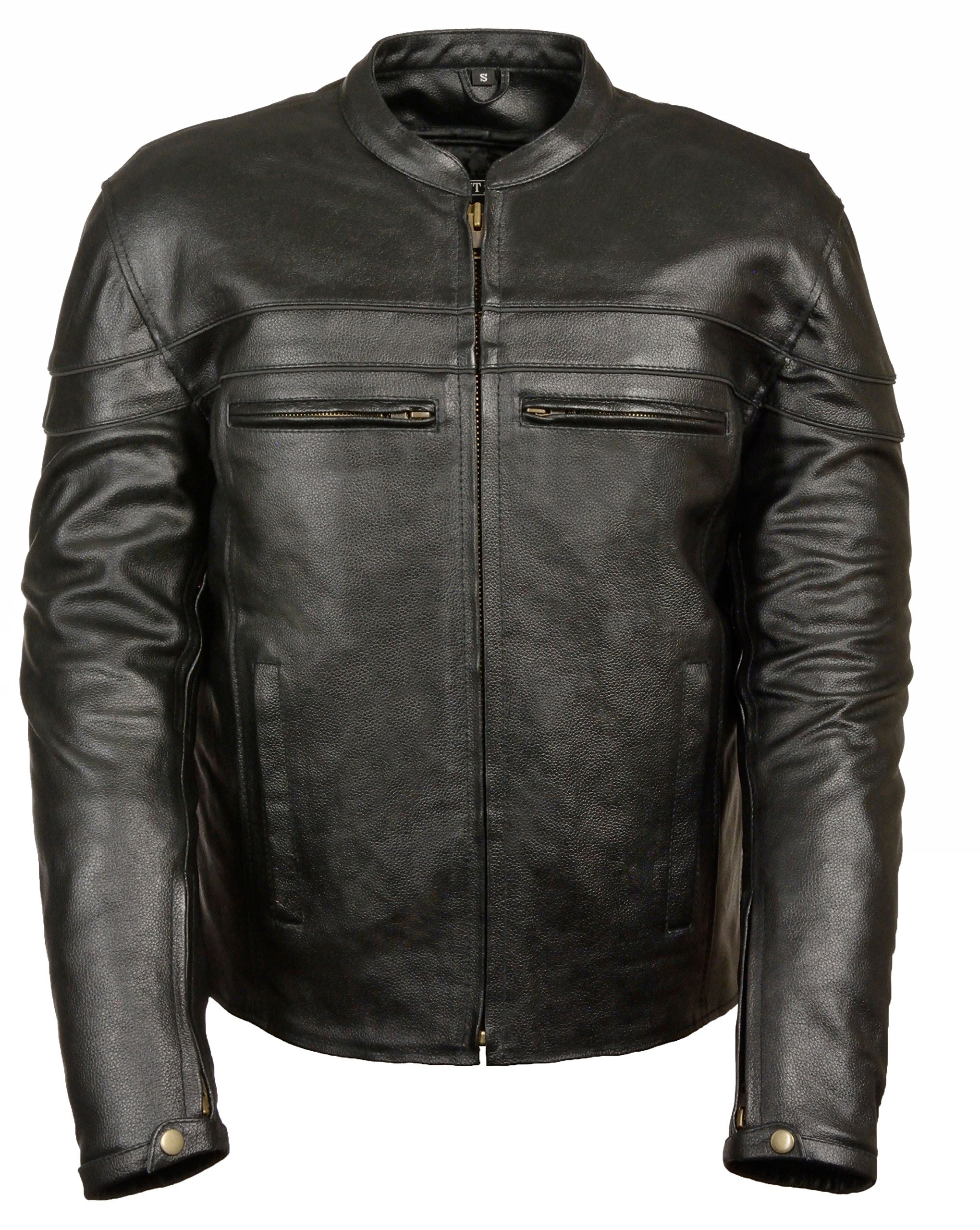 Mens Leather Sporty Scooter Crossover Jacket, Black Size S