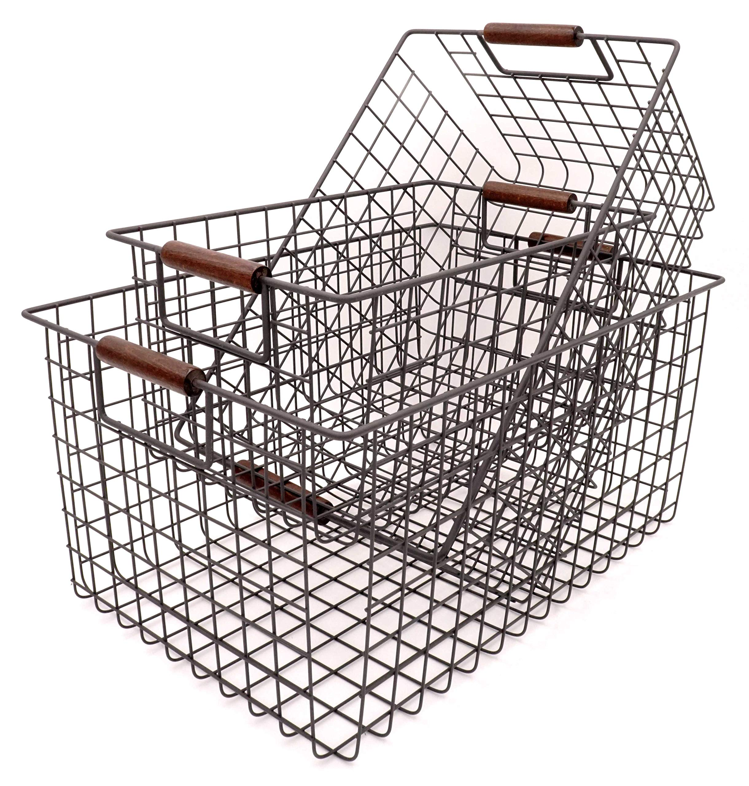 KeKaBox Set of 3 Metal Wire Nesting Storage Baskets with Wood Handles by KeKaBox (Image #1)