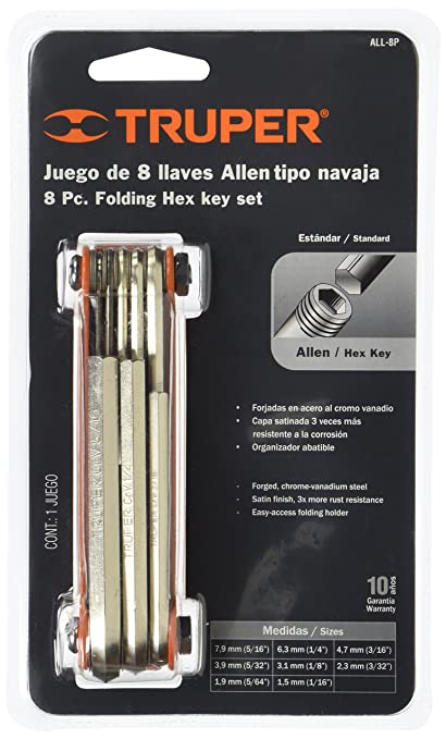 TRUPER ALL-9M 9-in-1 Folding Hex Key Sets, Metal Case, Size ...