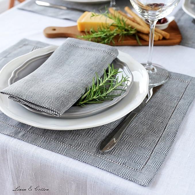 Linen /& Cotton 2 x Set de Table en Lin Ajour/é Scandi Jaune 100/% Lin 30 x 44cm