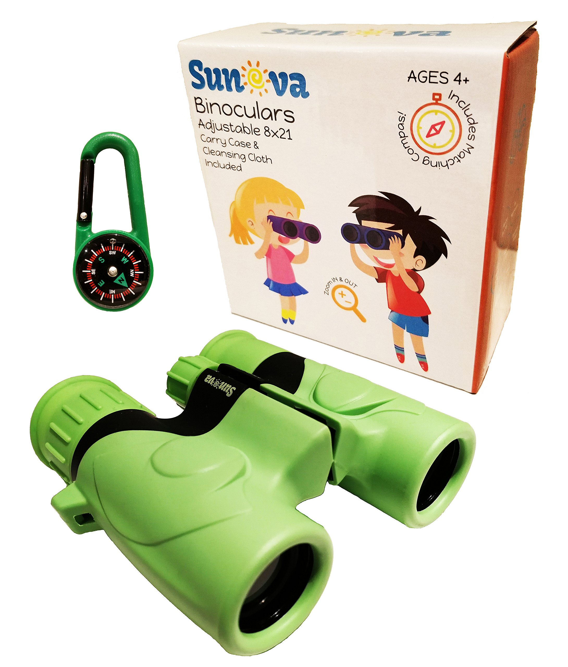 Sunova Kids Binoculars 8x21 Hi Res Optical with COMPASS Wrist Strap Carrying Bag for Boys and Girls - Shock Proof - Bird Watching - Hiking - Hunting - Outdoor Toy - Learning - Birthday Gift