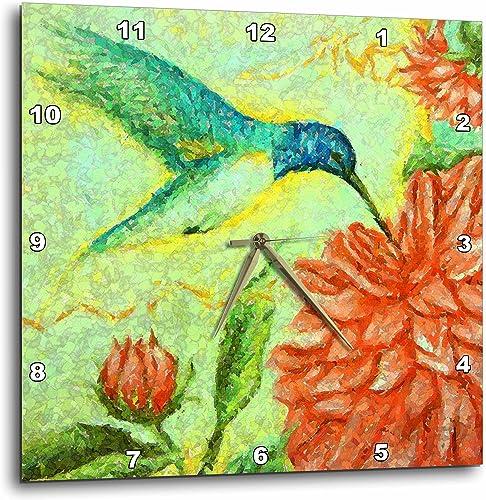 3dRose DPP_22573_3 Bird Nectar Wall Clock, 15 by 15-Inch