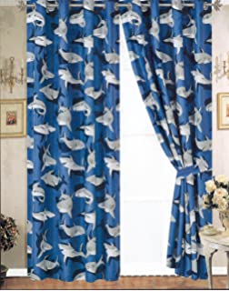 Amazon.com: Ambesonne Shark Curtains, Shark Pattern with Various ...
