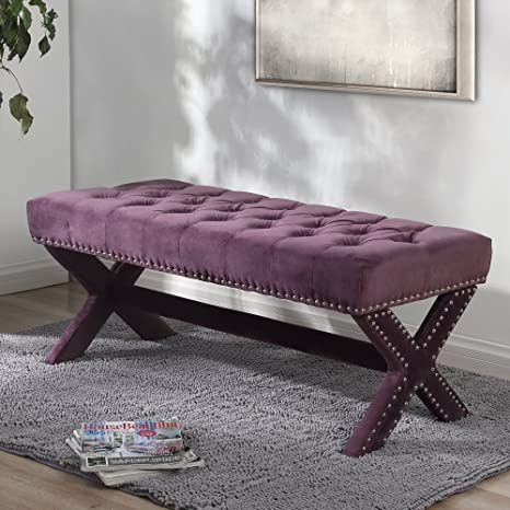 Fantastic Louis Purple Velvet Tufted Bench Silver Nailhead Legs Modern Living Room Entryway Bedroom Inspired Home Squirreltailoven Fun Painted Chair Ideas Images Squirreltailovenorg