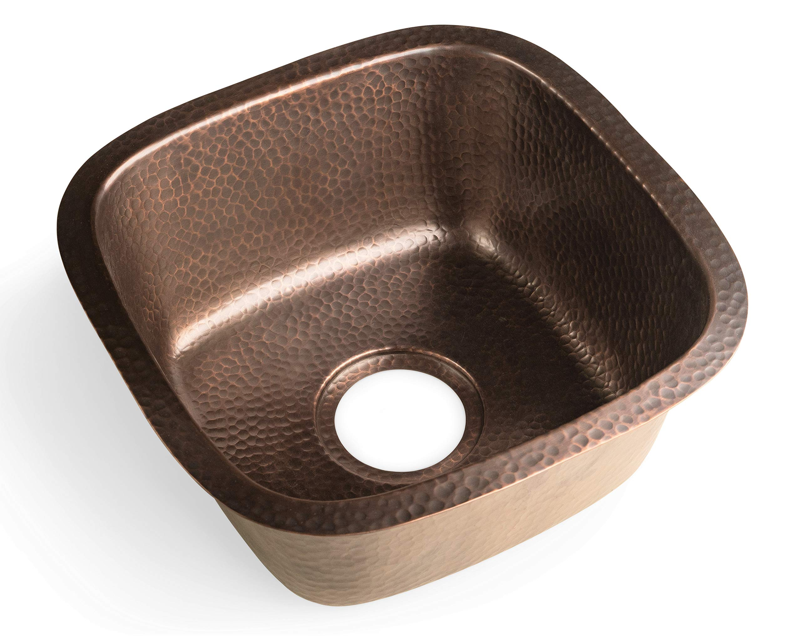 Monarch Abode 17091 Monarch Pure Copper Hand Hammered Atlas Dual Mount Bar Prep Single Bowl Kitchen Sink, by Monarch Abode (Image #3)