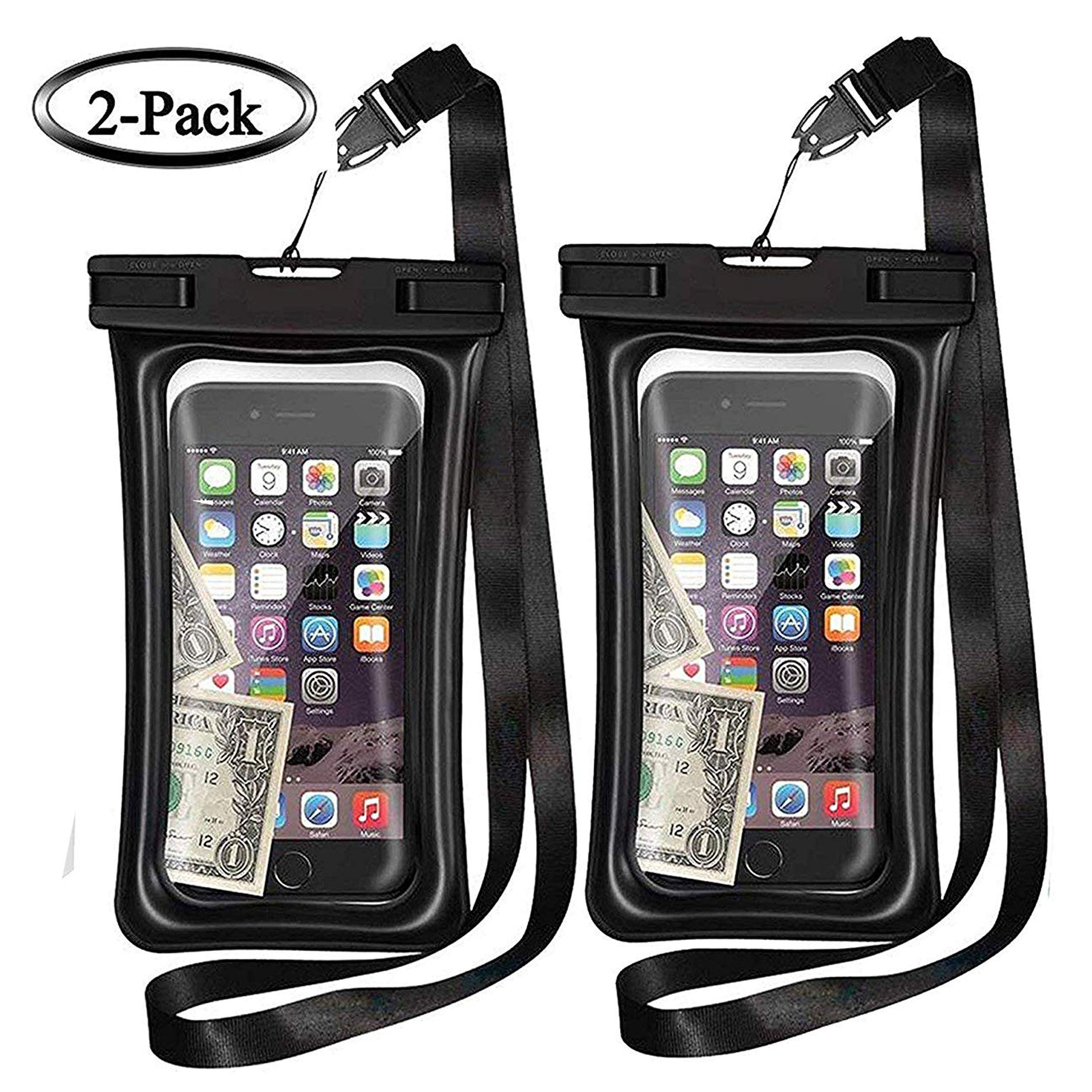 MQOUNY Waterproof Phone Pouch,2 Pack Floating Waterproof Case Waterproof Phone Case IPX8 Available TPU Clear Dry Bag for iPhoneXs/Xs Max/XR/8/8plus/7/6s/6/6s Plus Samsung up to 6.5 inch (Black-Black) by MQOUNY