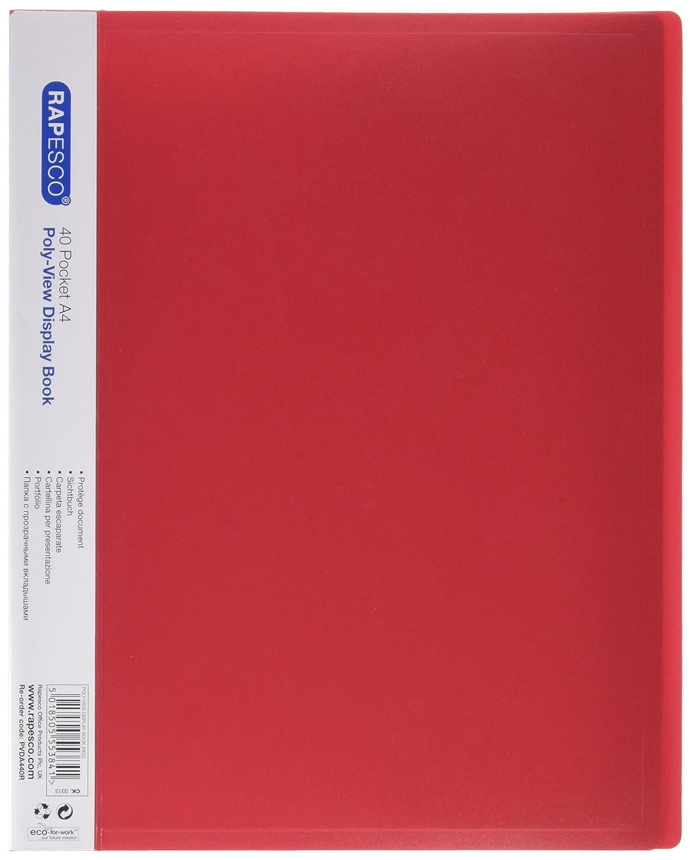 Rapesco Documentos - Carpeta de presentación A4 con 40 bolsillos, color rojo: Amazon.es: Oficina y papelería