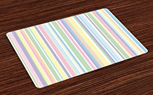 Ambesonne Pastel Place Mats Set of 4, Vertically Striped Pattern Different Colored Straight Lines Classical Old Fashioned, Washable Fabric Placemats for Dining Room Kitchen Table Decor, Pastel Colors
