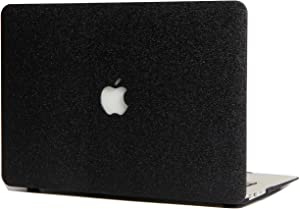 Hard Case Compatible with MacBook New Air 13.3 Inch with Touch ID Model A1932 - L2W Laptop Computer Accessories External Plastic Protection PU Leather Cover Shell,Glitter Design Black
