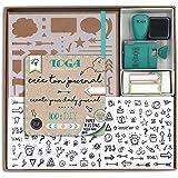 Toga KT74 Kit Bullet Journal, Carnet, Kraft, 15,5 x 21,5 x 1,5 cm